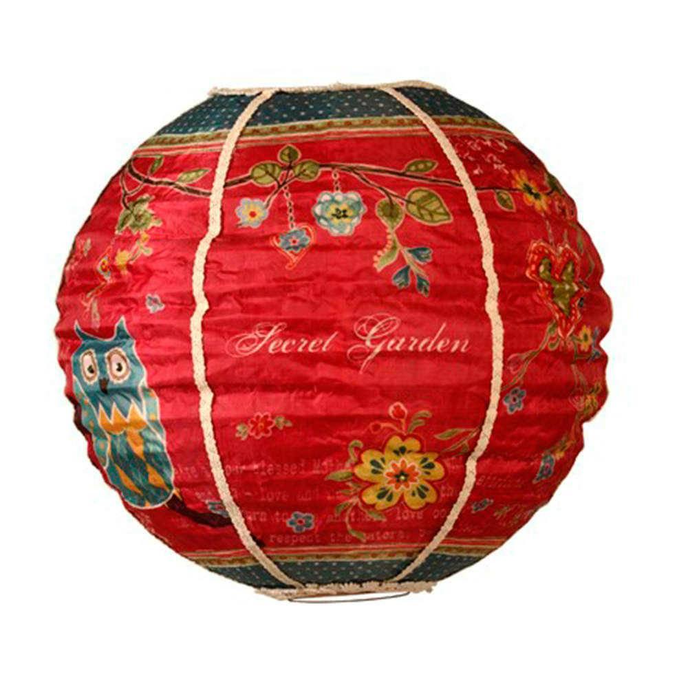 Luminária Decorativa Oriental Secret Garden Vermelha em Tecido - 38x35 cm
