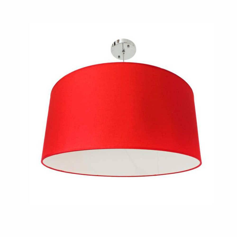 Luminária Dome Vermelho com Interior Branco em Metal e Tecido - 55x20 cm
