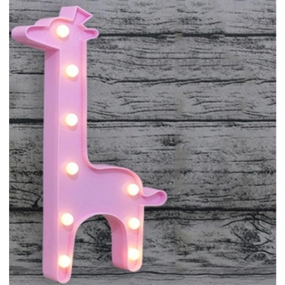 Luminária LED girafa rosa