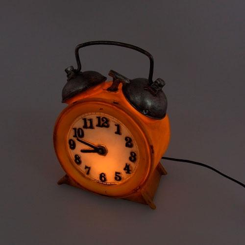 Luminária LED Relógio Amarelo em Resina - 20x14 cm