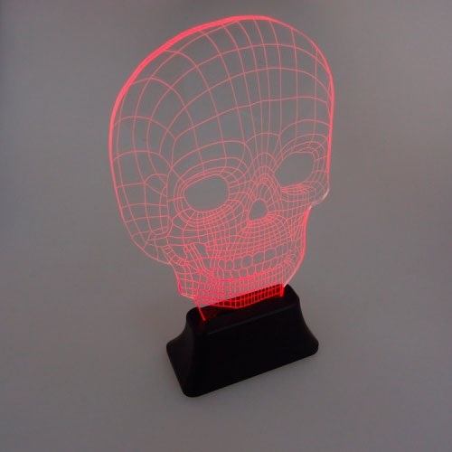 Luminária LED Skull em Acrílico - 27x14 cm