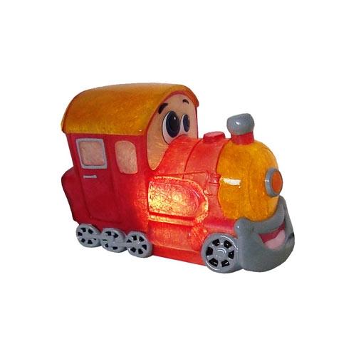 Luminária de LED Trenzinho Vermelho/Amarelo em Fibra de Vidro - 14x20 cm