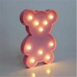 Luminária LED urso rosa