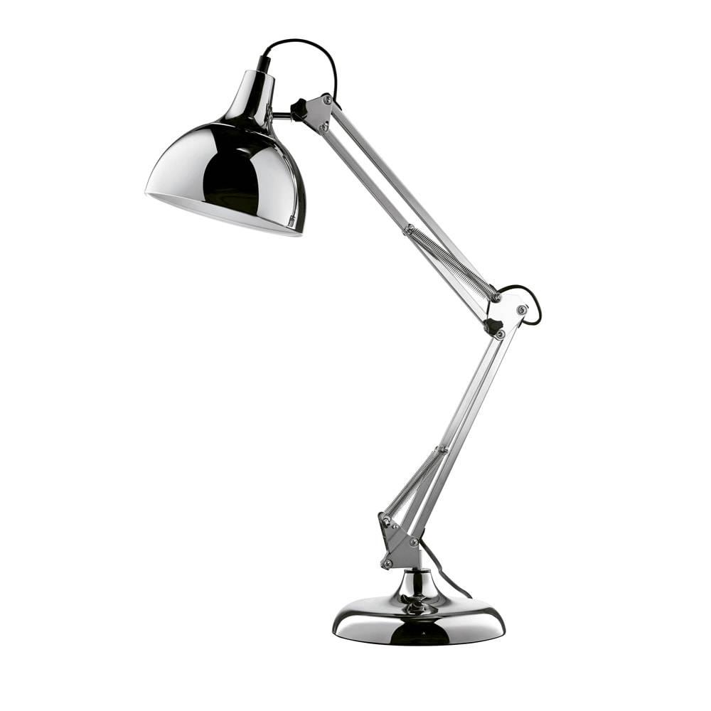 Luminária de Mesa Articulada Prata Grande Bivolt em Metal - 72x19 cm