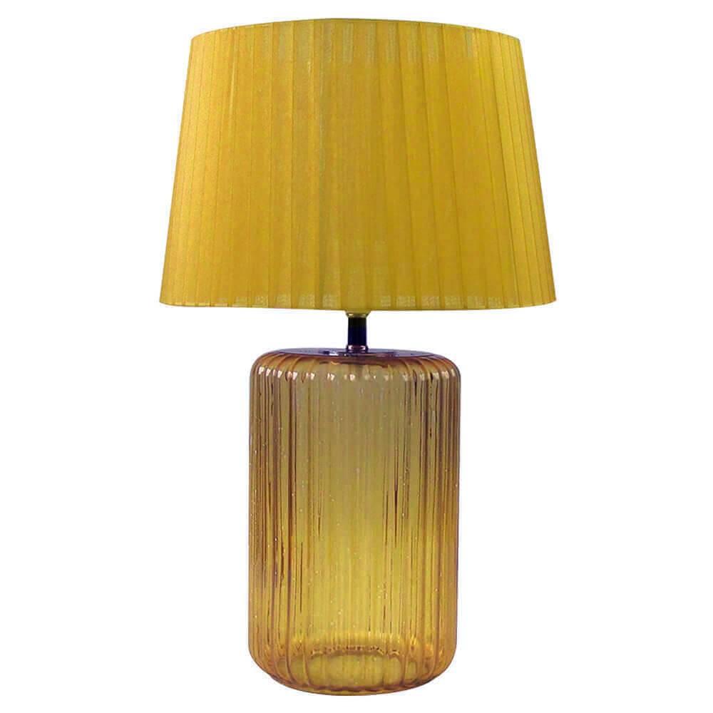 Luminária de Mesa Big Bottle Base Amarela em Vidro e Metal - Urban - 50x30 cm