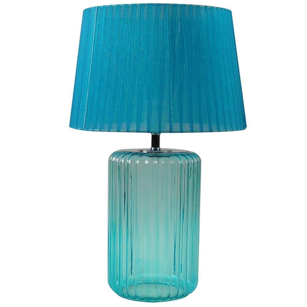 Luminária de Mesa Big Bottle Base Azul em Vidro e Metal - Urban - 50x30 cm