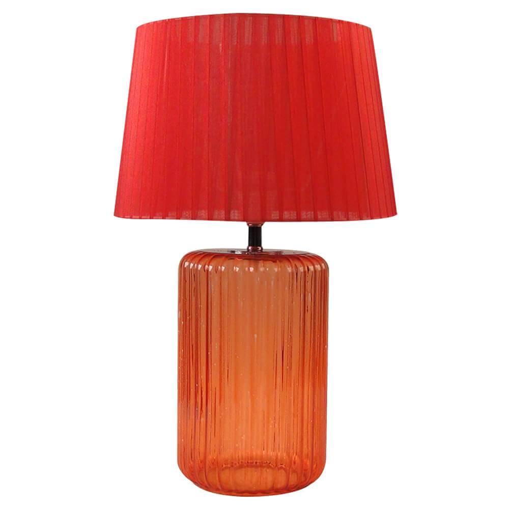 Luminária de Mesa Big Bottle Base Vermelha em Metal e Vidro - Urban - 50x30 cm