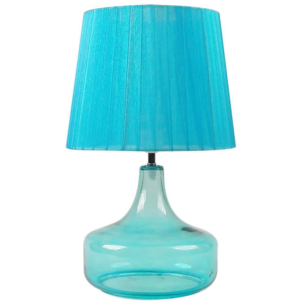 Luminária de Mesa Bojuda Azul em Vidro e Metal - Urban - 42x25 cm