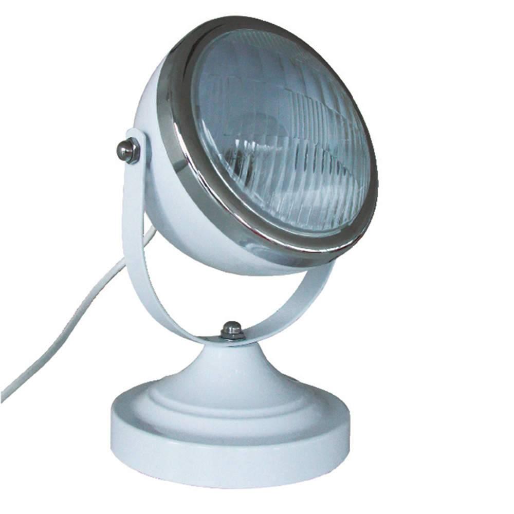 Luminária de Mesa Car Fron Light Branca em Ferro e Vidro - Urban - 25x15 cm