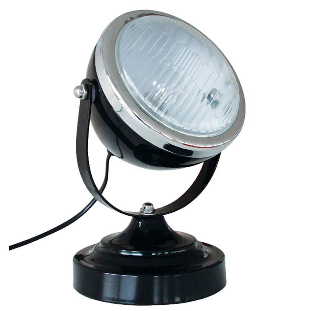 Luminária de Mesa Car Front Light Preta em Ferro e Vidro - Urban - 25x15 cm