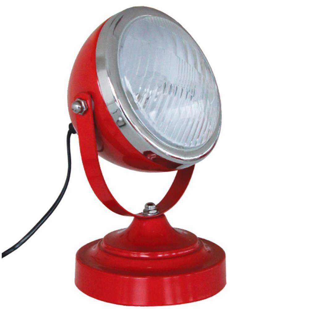 Luminária de Mesa Car Front Light Vermelha em Ferro e Vidro - Urban - 25x15 cm