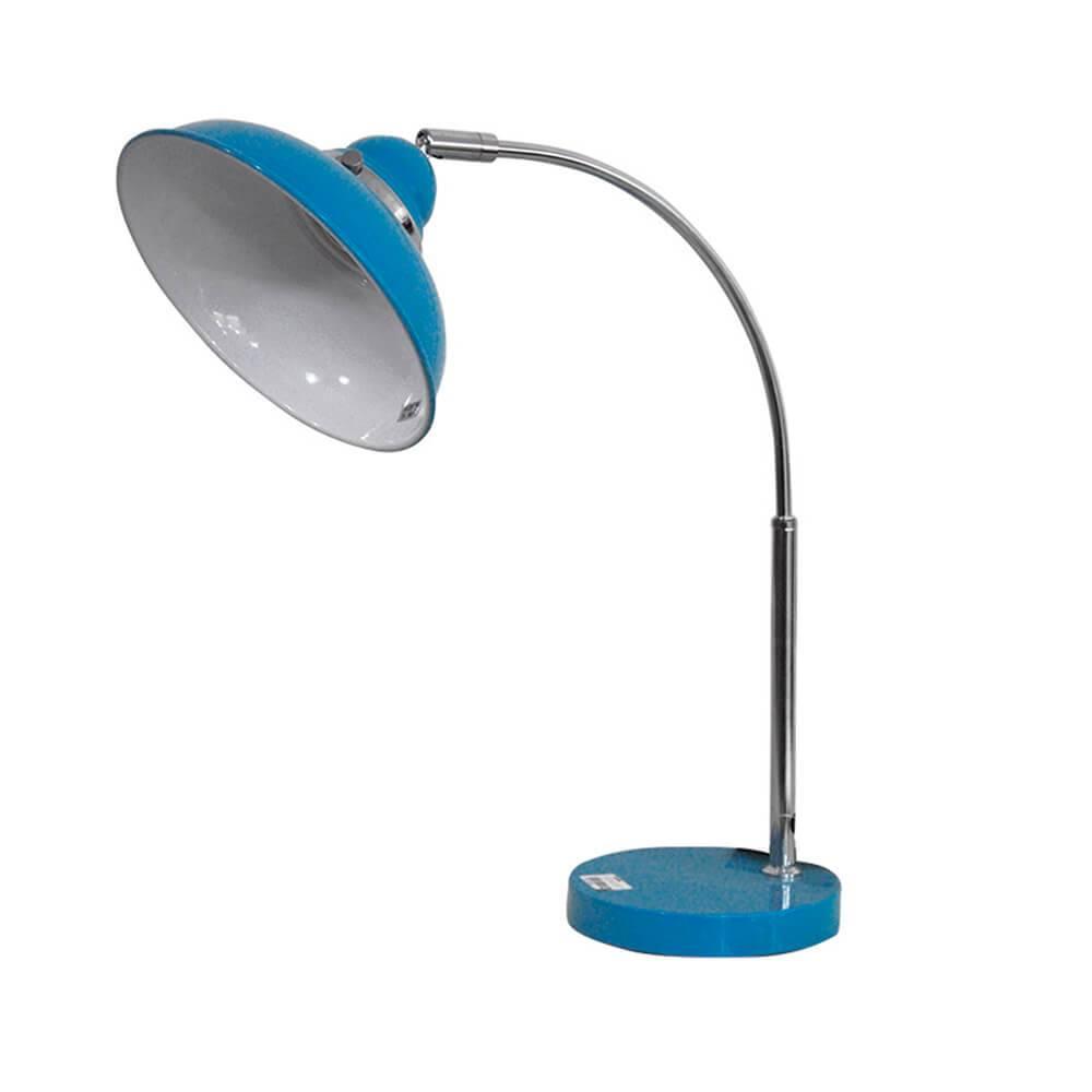 Luminária de Mesa City Light Azul Brilhante em Metal - Urban - 45x20 cm