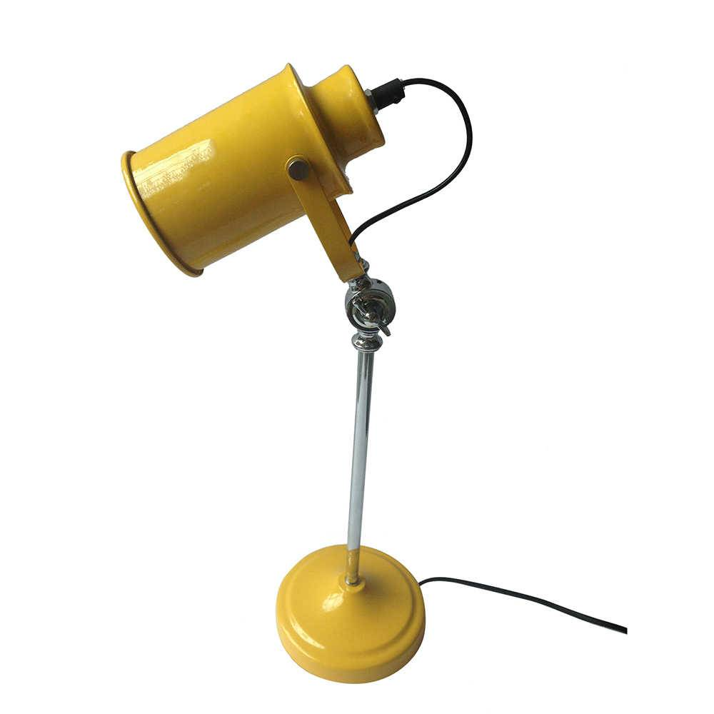 Luminária de Mesa Factory Style Amarela Brilhante em Metal - Urban - 53x15 cm