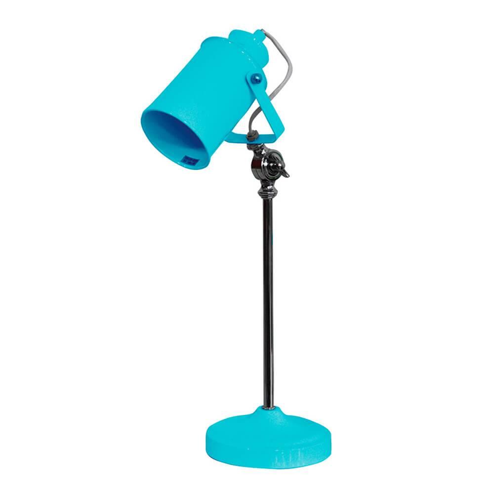 Luminária de Mesa Factory Style Azul Brilhante em Metal - Urban - 53x15 cm