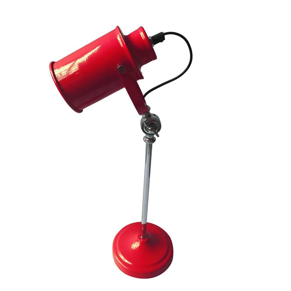 Luminária de Mesa Factory Style Vermelha Brilhante em Metal - Urban - 53x15 cm