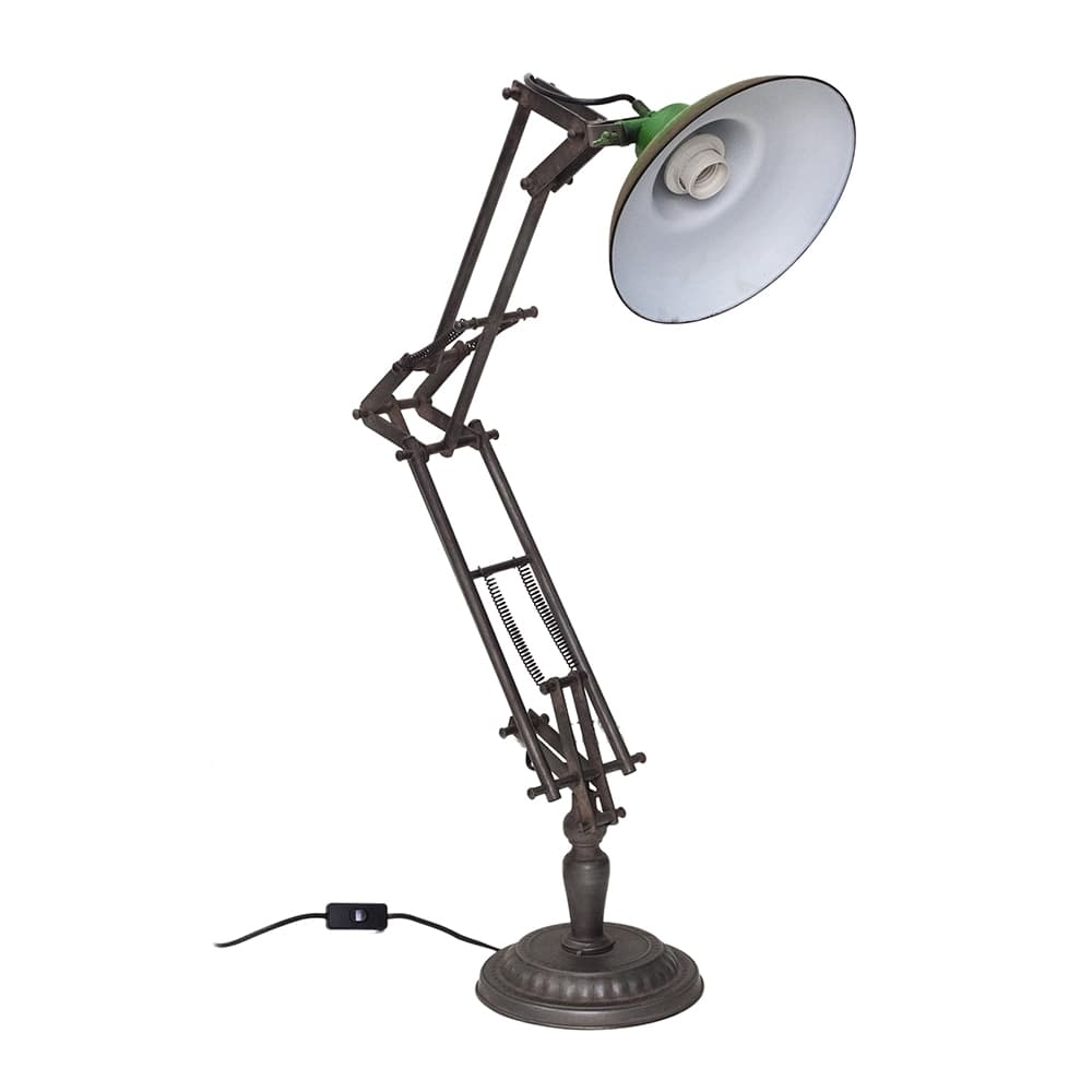 Luminária de Mesa Gordon Verde com Braço Articulado em Ferro - 90x47 cm