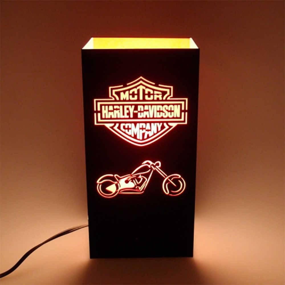 Luminária de Mesa Harley Davidson Preta em Acrílico - 25x12 cm