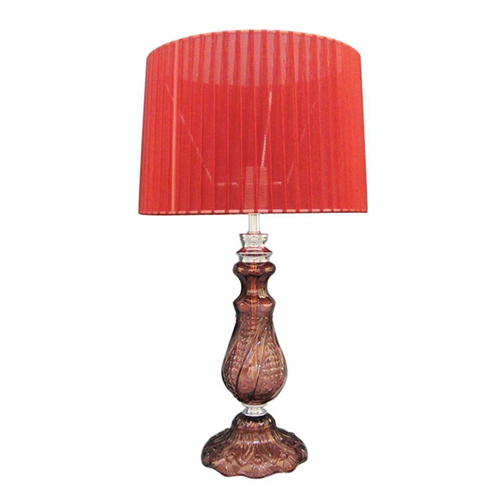 Luminária de Mesa Ille de Couleur Pleat Shade Vermelha em Metal - Urban - 53x30 cm