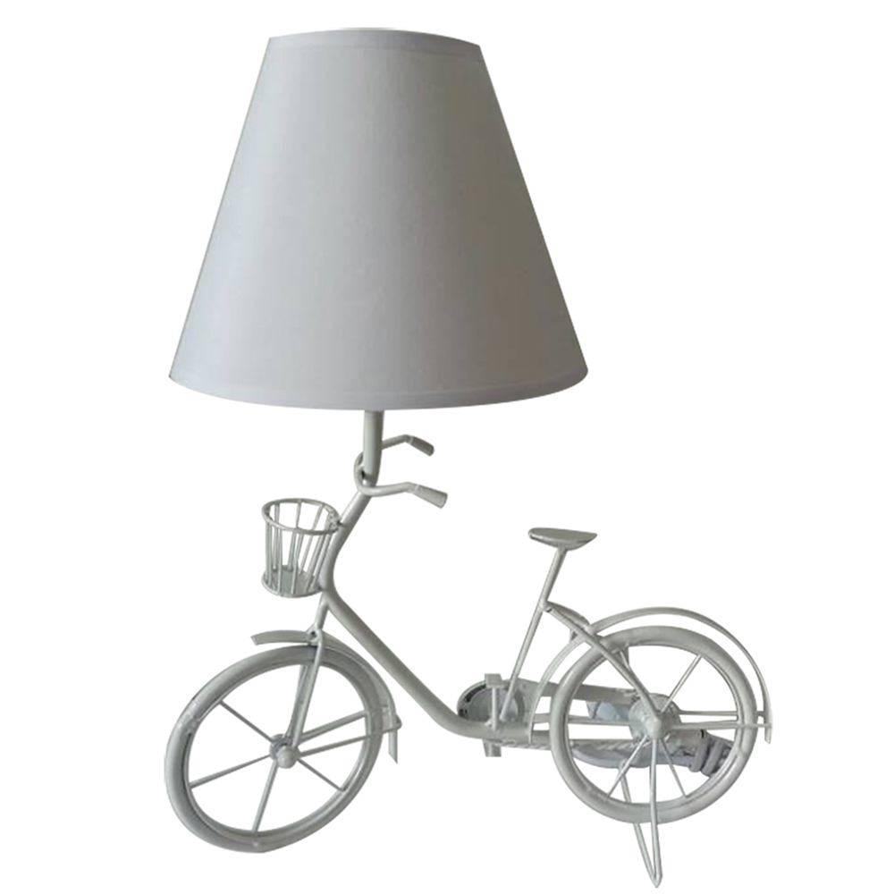 Luminária de Mesa Little Bike Branca em Metal - Urban - 29x15 cm