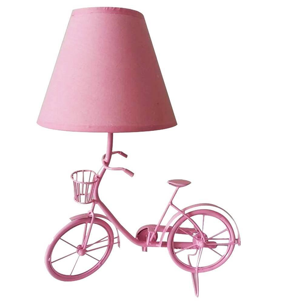 Luminária de Mesa Little Bike Rosa em Metal - Urban - 29x15 cm