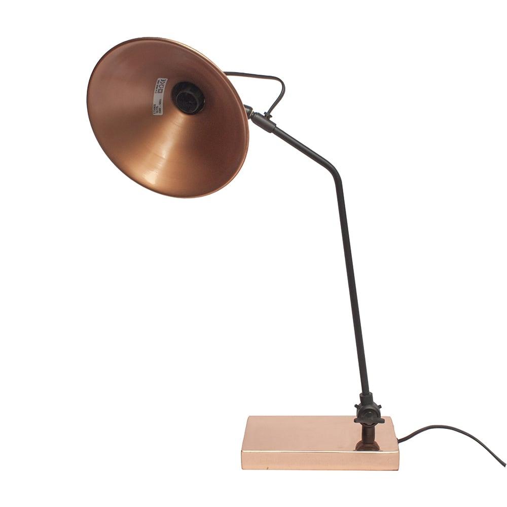 Luminária de Mesa Mônaco Uno Cobre/Preto em Ferro - 56x25 cm