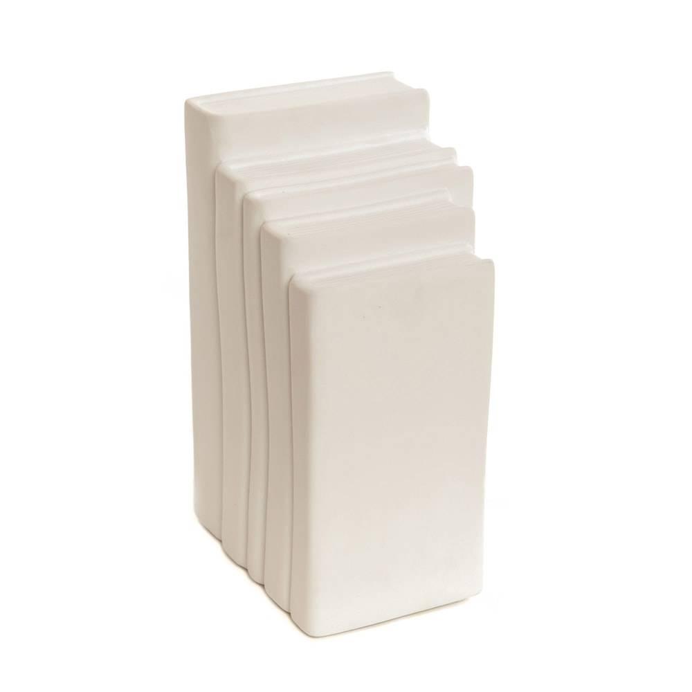 Luminária de Mesa Pilha de Livros Branca em Porcelana - 25x16 cm