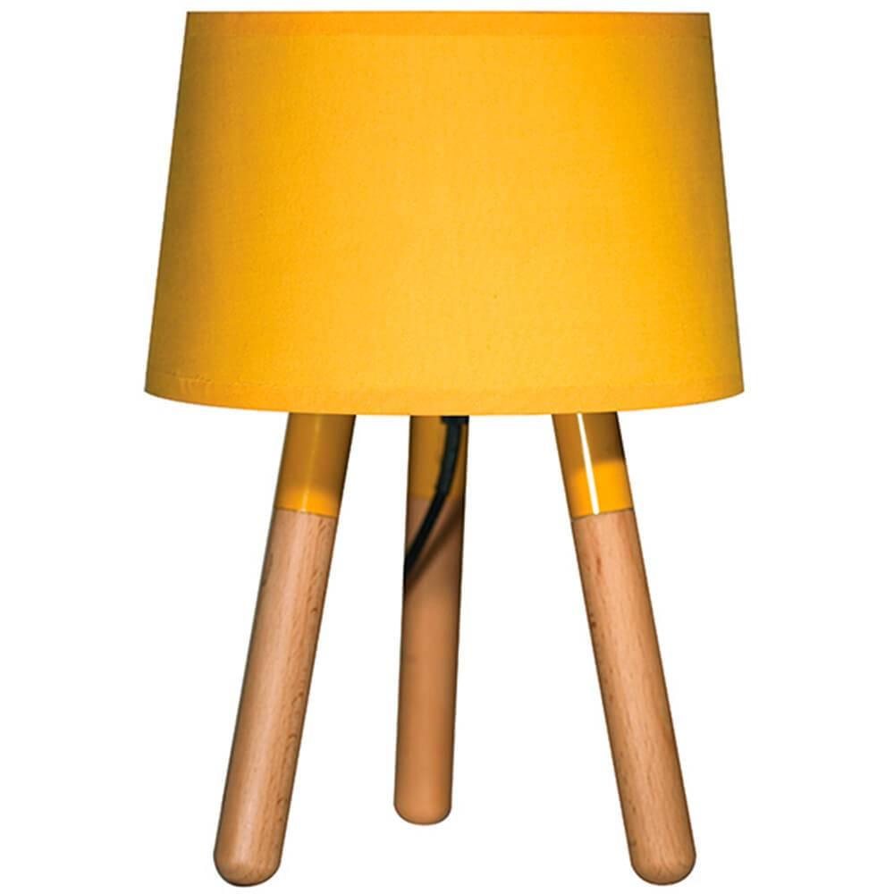Luminária de Mesa Stick Feet Amarelo em Madeira - Urban - 32x22 cm