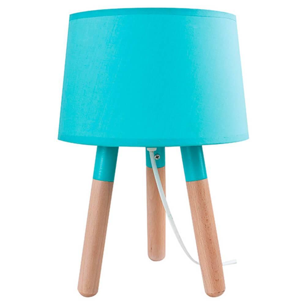 Luminária de Mesa Stick Feet Azul em Madeira - Urban - 32x22 cm