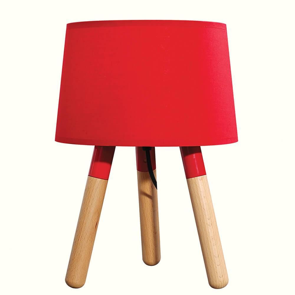 Luminária de Mesa Stick Feet Vermelho em Madeira - Urban - 32x22 cm