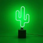 Luminária de Neon Cactus Verde em Vidro - 32x20 cm
