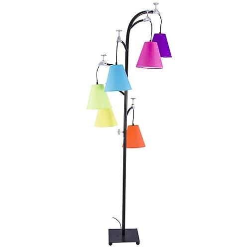 Luminária Pedestal Torneiras c/ Cúpulas Coloridas Fullway - 185x35 cm