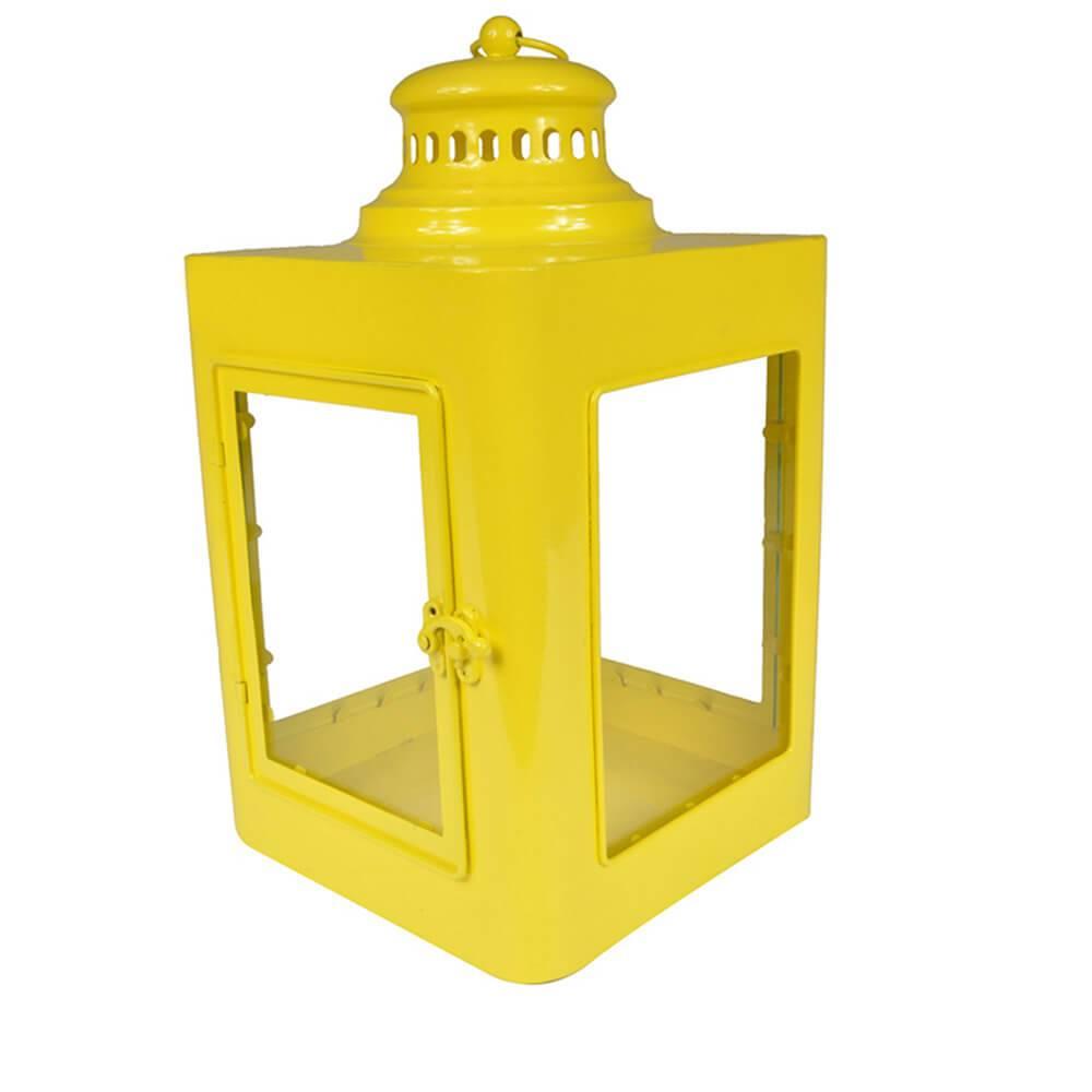Lanterna Quadrada Marroquina Amarelo em Metal e Vidro - Urban - 37x20 cm