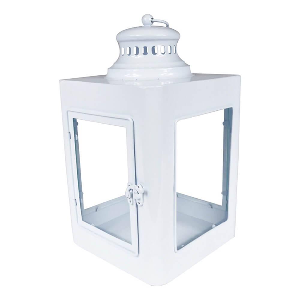 Lanterna Quadrada Marroquina Branco em Metal e Vidro - Urban - 37x20 cm