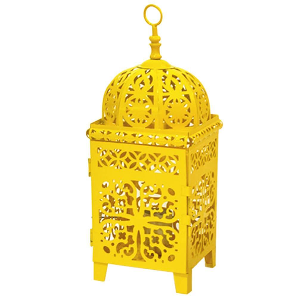 Luminária Quadrada Marroquina Flor New Med Amarela em Metal - Urban - 37x14 cm