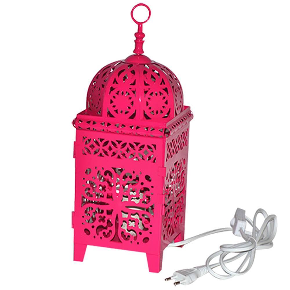 Luminária Quadrada Marroquina Flor New Med Rosa em Metal - Urban - 37x14 cm