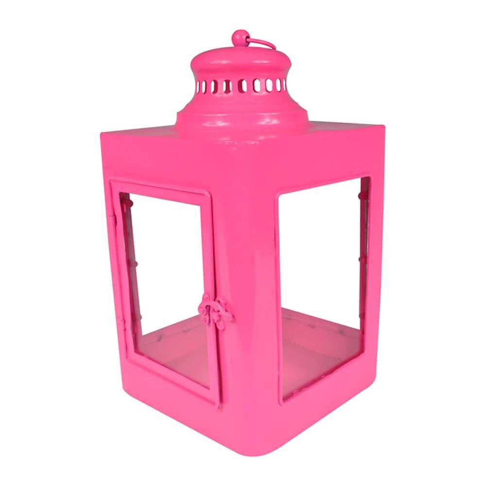 Lanterna Quadrada Marroquina Pink em Metal e Vidro - Urban - 37x20 cm