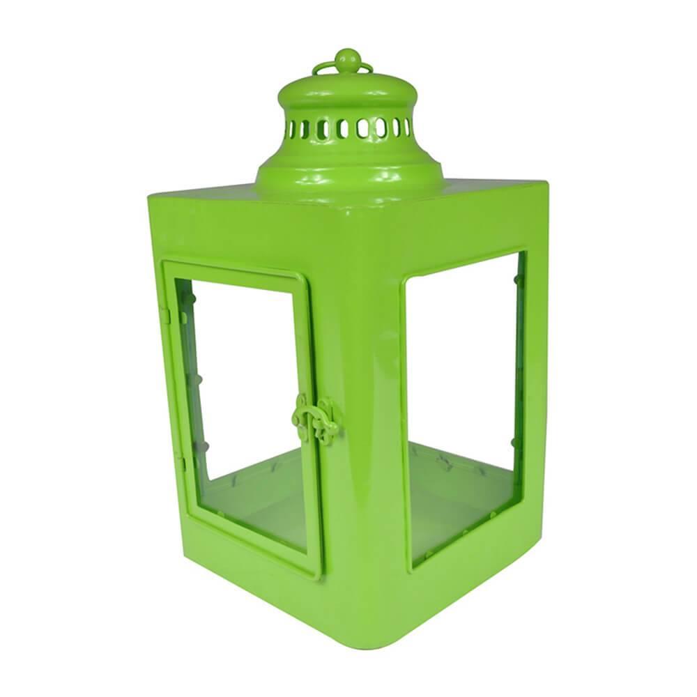 Lanterna Quadrada Marroquina  Verde em Metal e Vidro - Urban - 37x20 cm