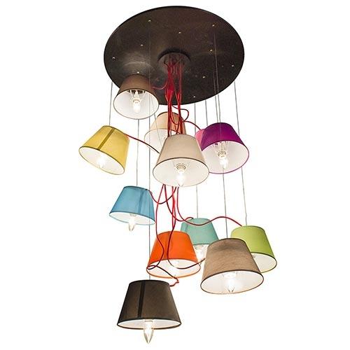 Luminária de Teto c/ 12 Cúpulas Coloridas Fullway - 120x70 cm