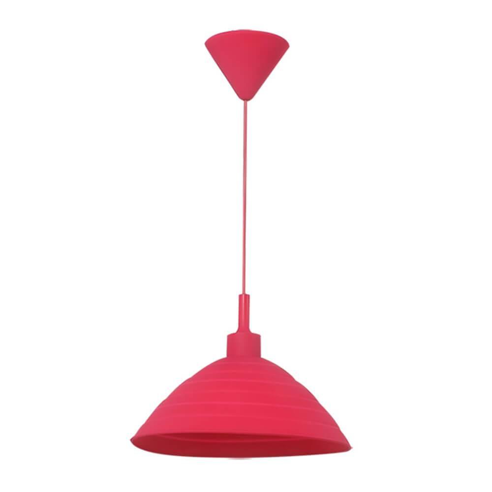 Luminária de Teto Round Shape Pink em Silicone - 24x15 cm