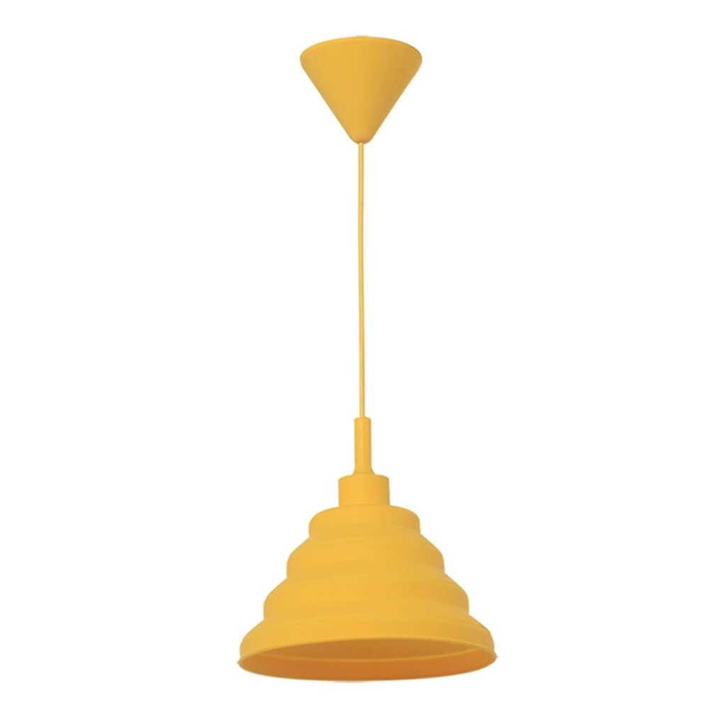 Luminária de Teto Spring Shape Amarela em Silicone - Urban - 24x14 cm