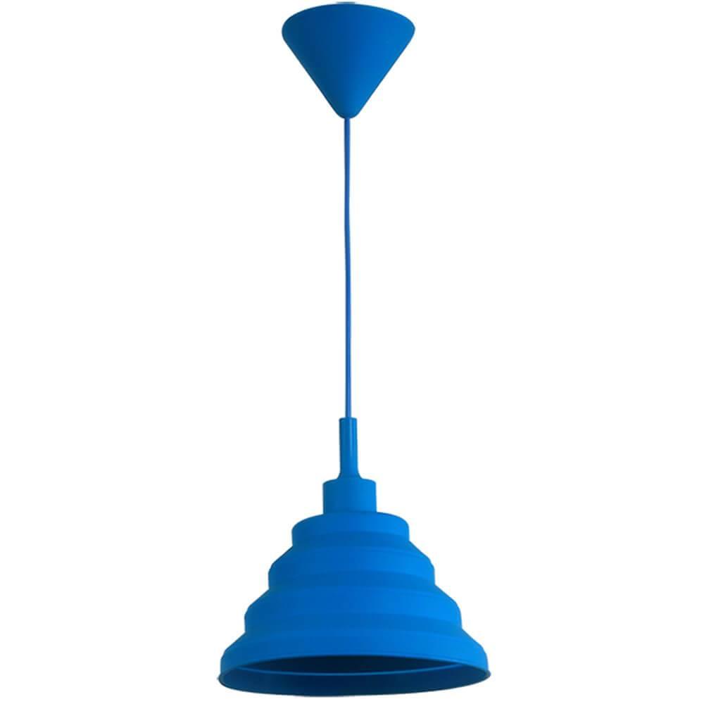 Luminária de Teto Spring Shape Azul em Silicone - Urban - 60x24 cm
