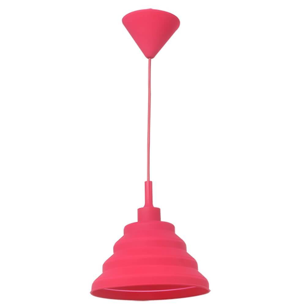 Luminária de Teto Spring Shape Rosa em Silicone - Urban - 24x14 cm