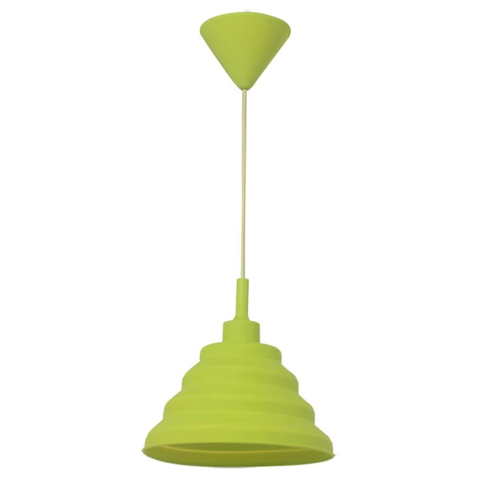 Luminária de Teto Spring Shape Verde em Silicone - Urban - 60x24 cm