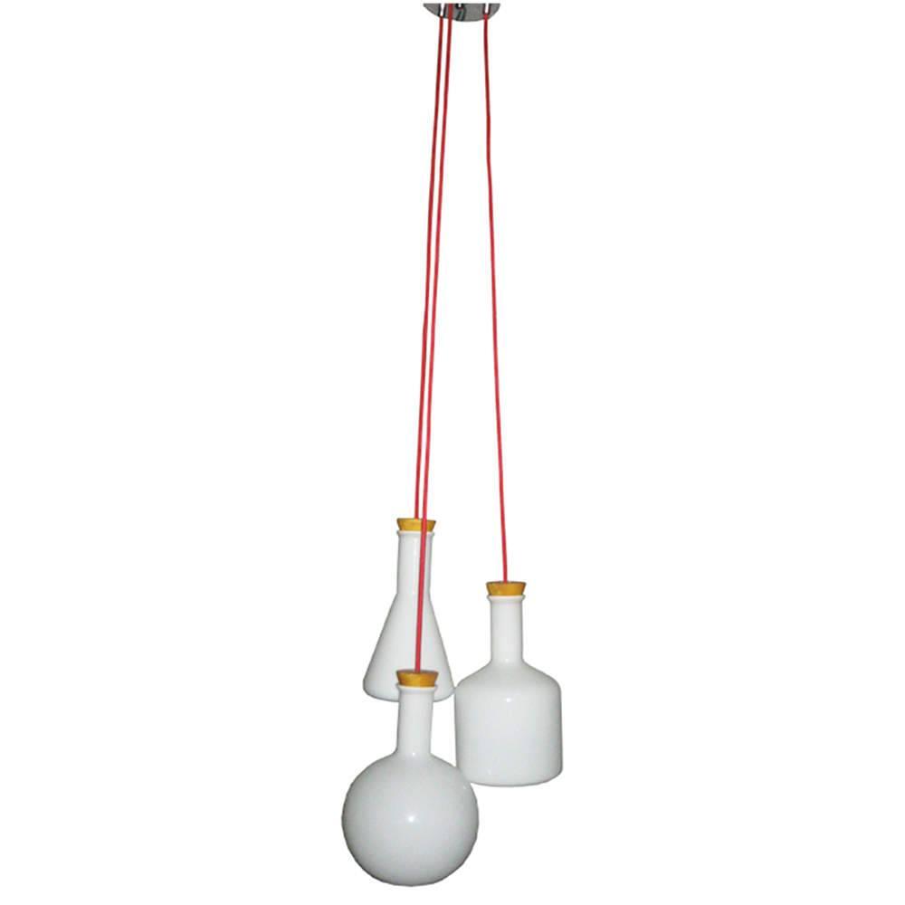 Luminária de Teto Three Chemical Bottles Branco em Vidro - Urban - 120x35 cm