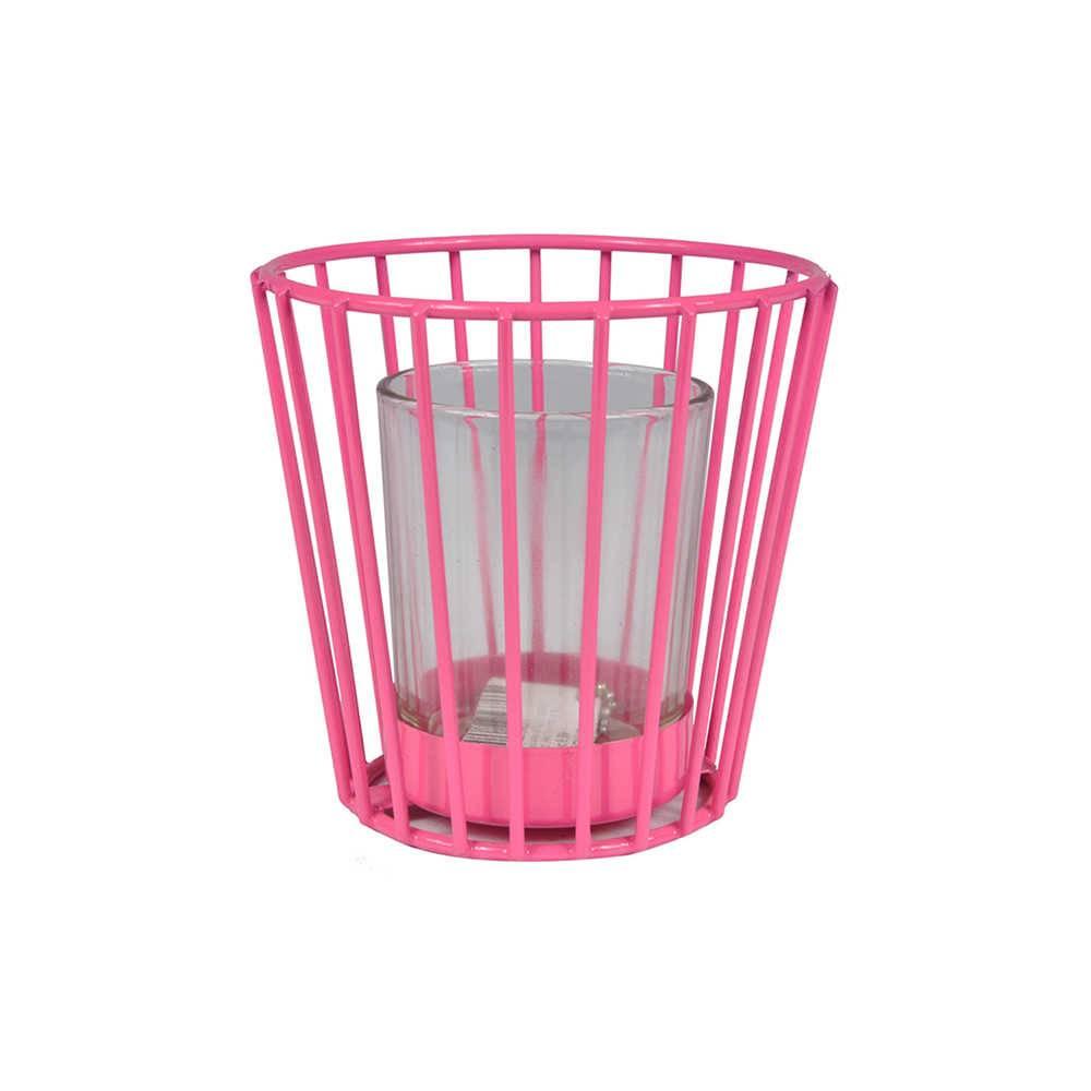 Lanterna Vase Pink em Metal e Vidro - Urban - 10x9 cm