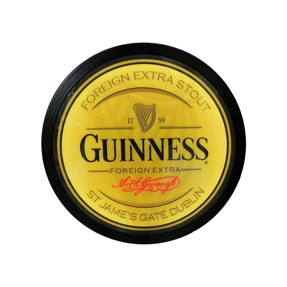 Luminoso Guinness Amarelo Redondo - Bivolt - em Alumínio com LED - 30x4 cm