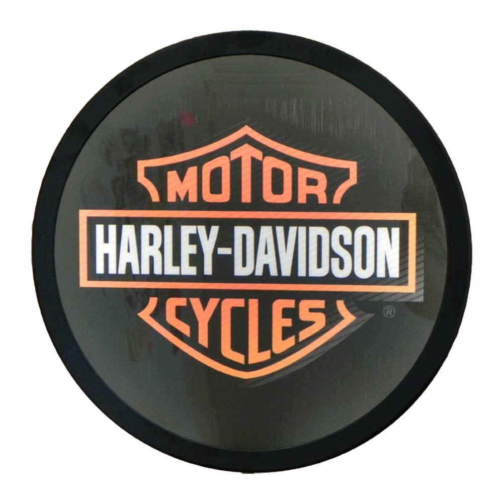 Luminoso sem Fio Harley Davidson Preto Redondo em Alumínio com LED - 30x4 cm