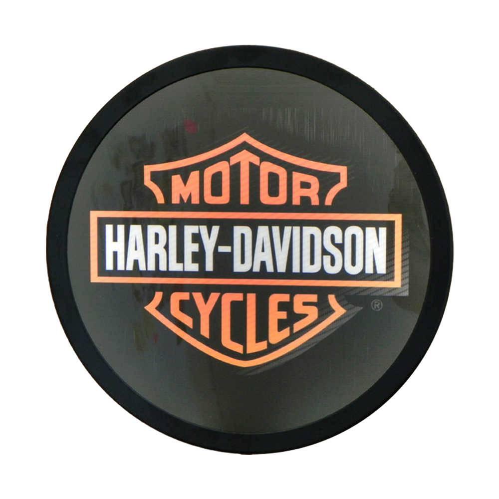 Luminoso Harley Davidson Preto Redondo - Bivolt - em Alumínio com LED - 30x4 cm