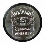 Luminoso sem Fio Jack Daniels Preto Redondo em Alumínio com LED - 30x4 cm