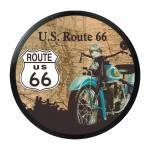 Luminoso sem Fio Route 66 Bege Redondo em Alumínio com LED - 30x4 cm